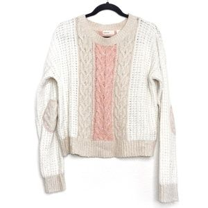 Anthro Sleeping On Snow Cable Knit Sweater Cream M